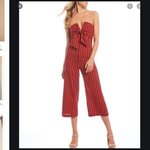English factory S tube stripe tie front jumpsuit